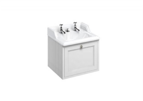 Burlington 650 Wall Hung Vanity Unit With B14 Classic Basin, Integrated Waste, Various Colours